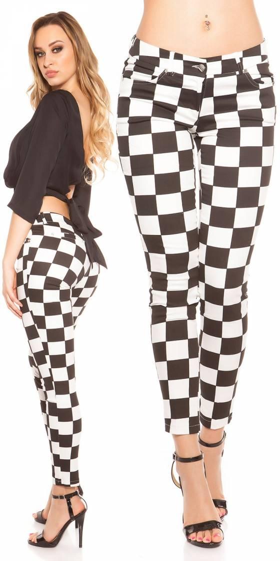 Pantalon sexy motif damier