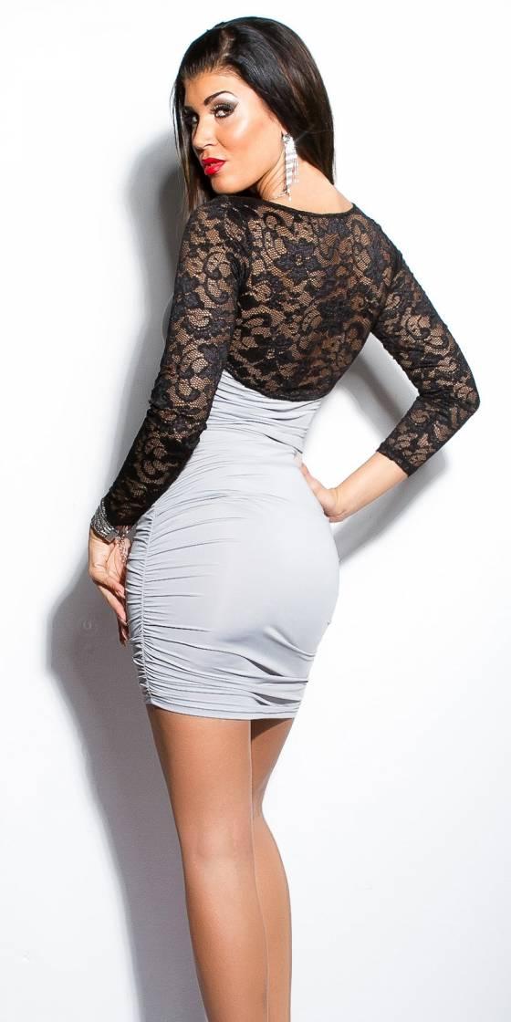 Mini robe fronçée sexy avec...