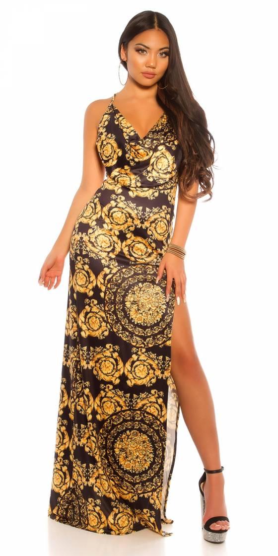 Robe sexy ajourée avec imprimé