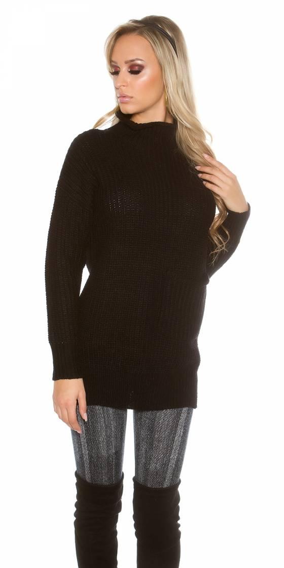 Pull à col roulé en tricot...
