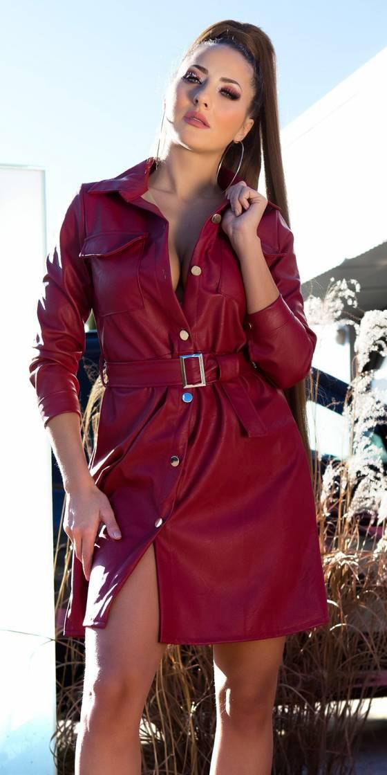 Robe sexy simili cuir avec...