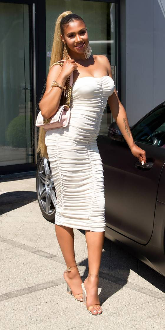 Sexy ruched Bandeau Mididress
