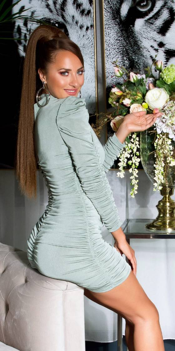 Sexy ruched longsleeve dress