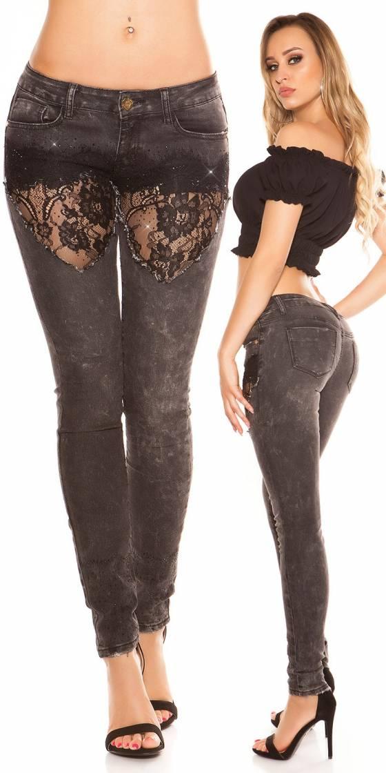 Jeans sexy avec dentelle et...