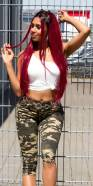 Bermuda jeans sexy taille haute look camouflage