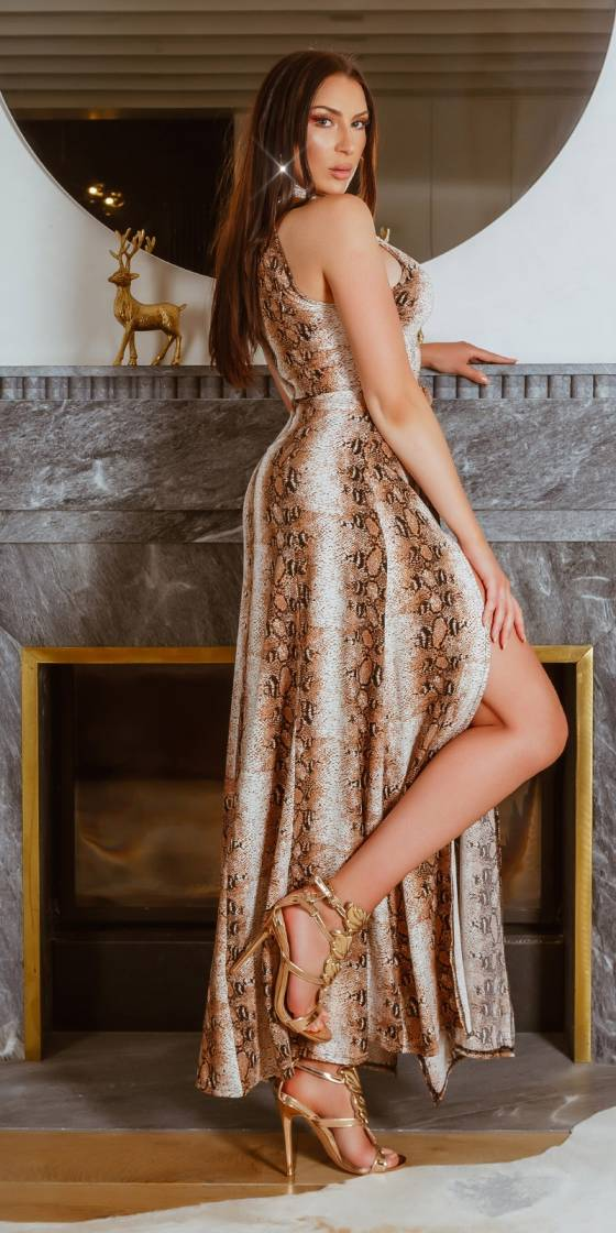 Sexy maxi neck-dress with...
