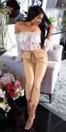 Pantalon en cuir taille haute Style Jogger