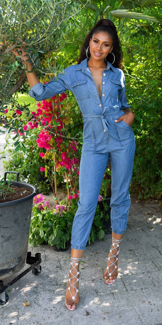 Trendy Jeans-Overall with belt