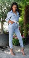Salopette en Jeans tendance délavé clair