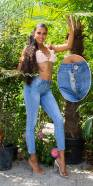Jeans skinny sexy avec fermeture éclair apparente