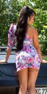 Robe asymétrique sexy avec imprimé fleuri