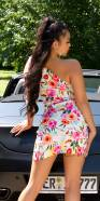 Sexy one-shoulder dress with flower print