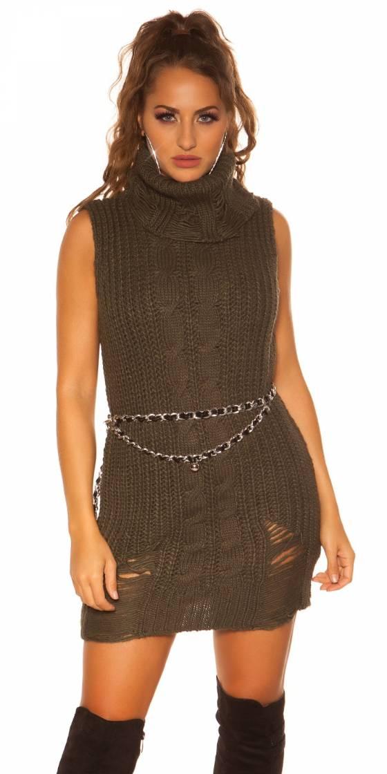 Mini-robe en tricot à col...