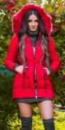 Trendy winter jacket w. belt + detachable hood