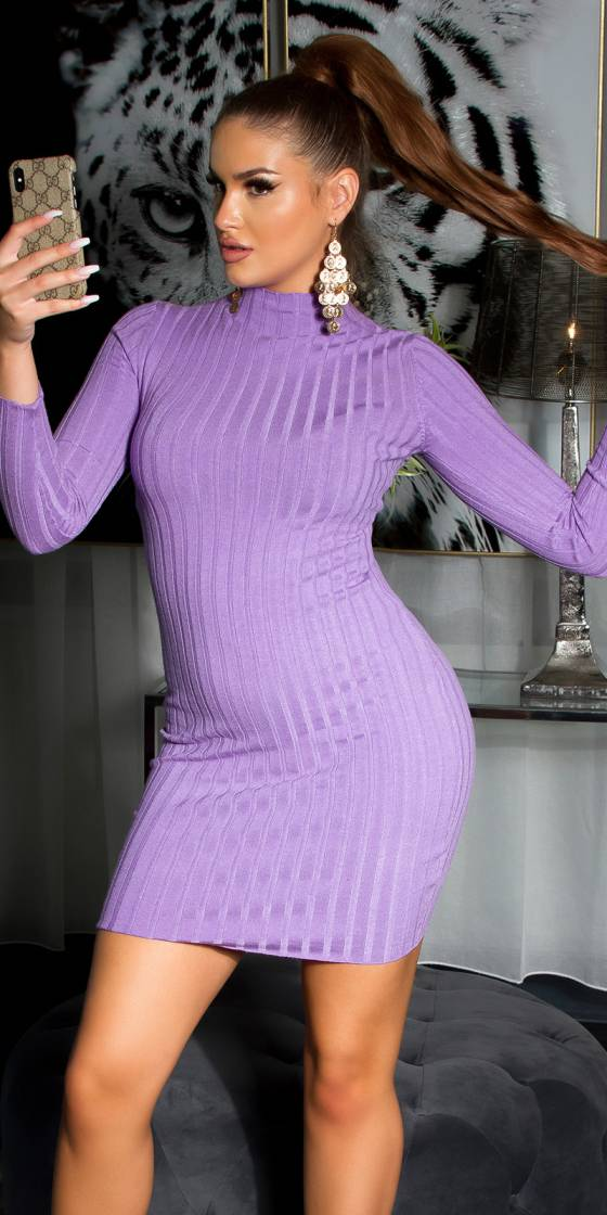 Sexy high neck knitted dress