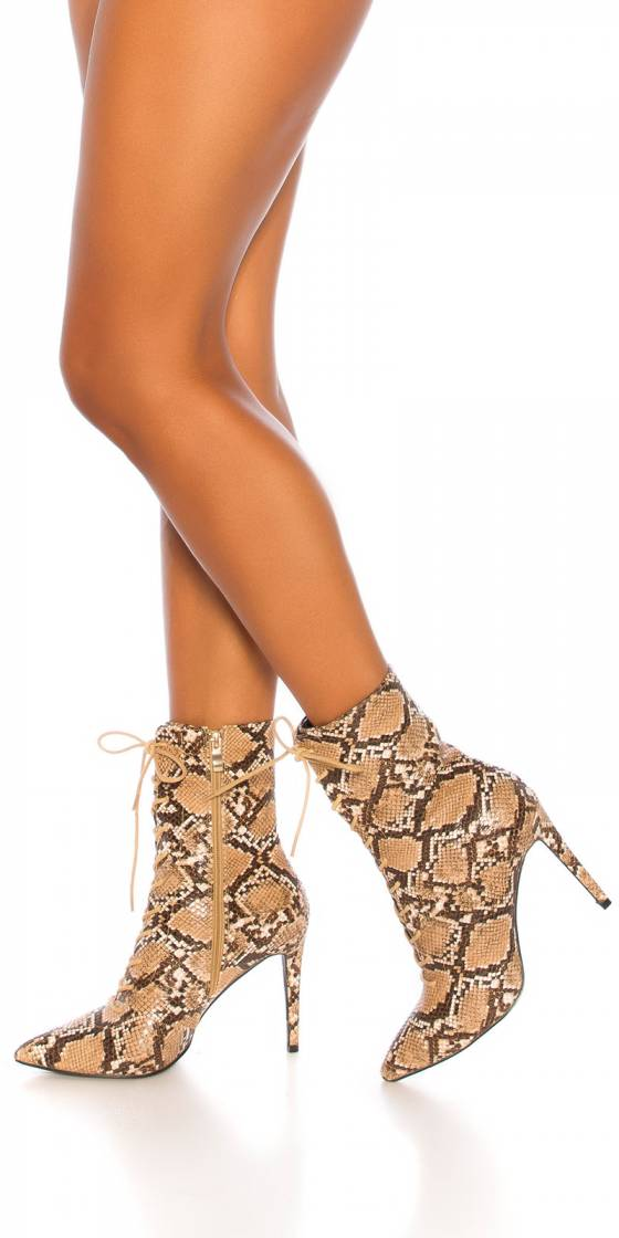 Sexy Laced Snake Ankle Boots