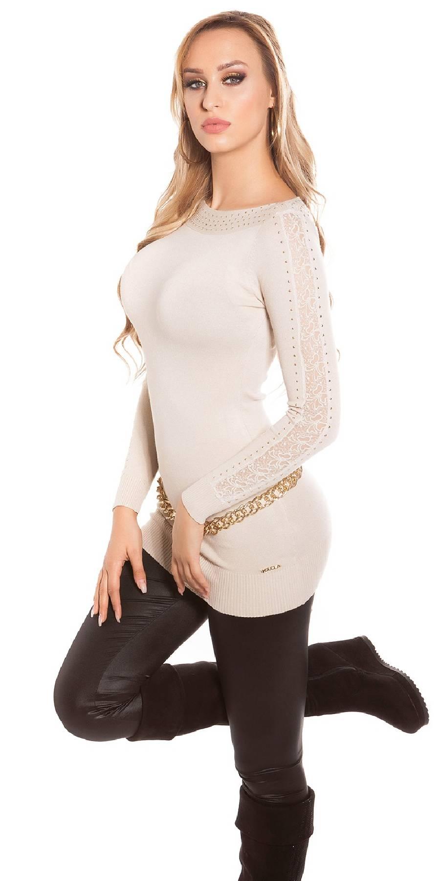 Robe femme tendance ADRIANA couleur blanc avec ceinture strass