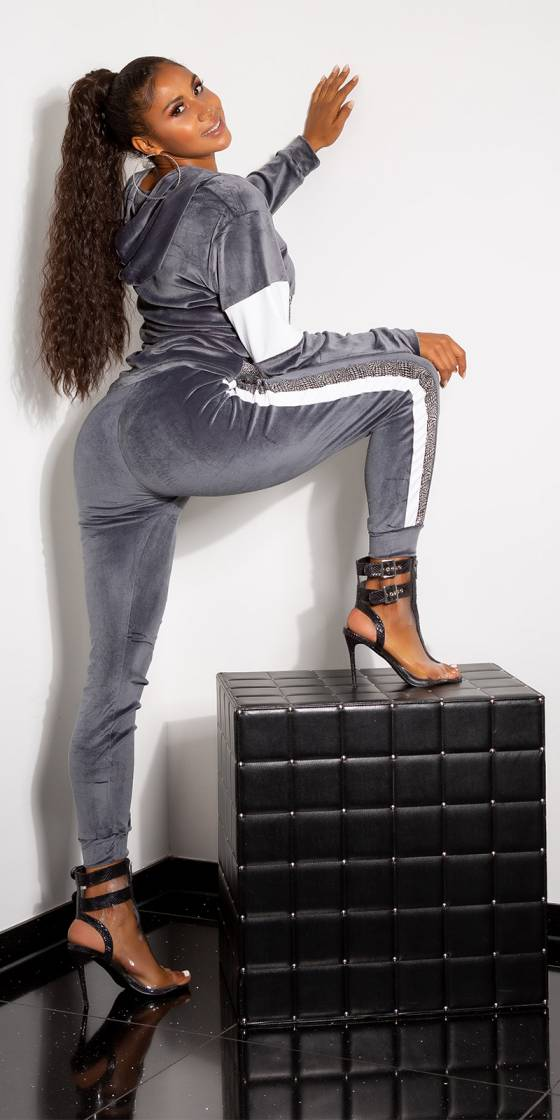 Sporty 2-Piece Set Velvet Look