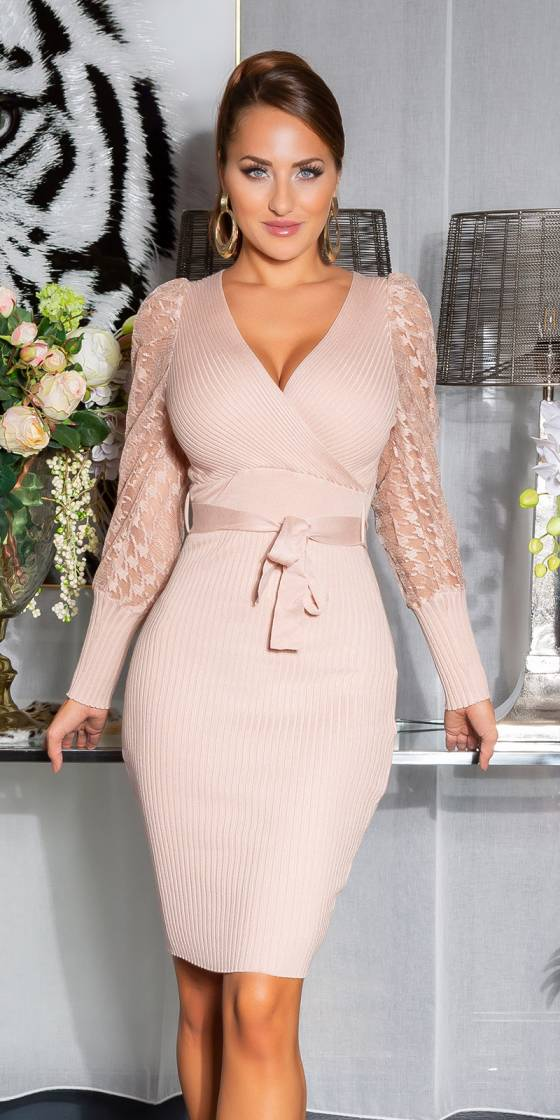 Sexy Knit Dress with Lace...