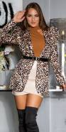 Sexy Leo Puffed Sleeve Blazer with Belt
