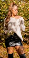 Trendy KouCla V-Cut Loose Knit Oversize Sweater