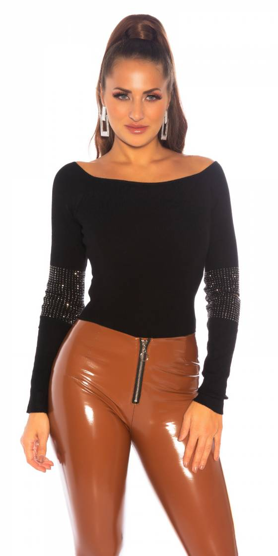 Top sexy glamour MAELWENN couleur noir