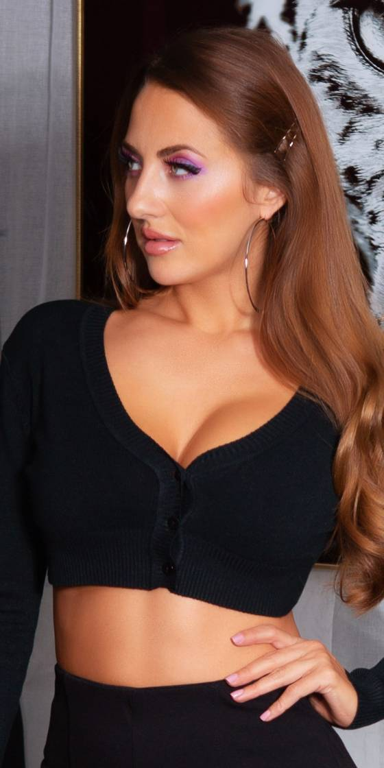 Sexy V-Neck Cropped Sweater
