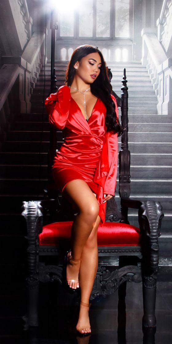 Sexy Koucla Satin Look Flounce Dress