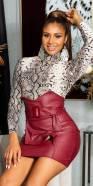 Mini jupe sexy taille haute aspect cuir avec ceinture