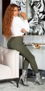 Pantalon skinny fashion avec boucle décorative