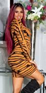 Robe fashion en maille look tigre