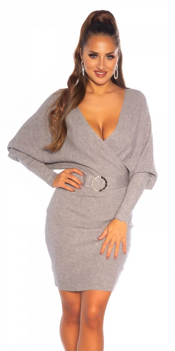Robe sexy en tricot à col...