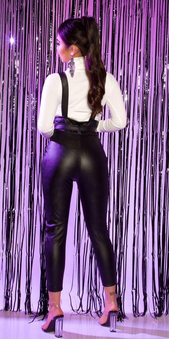 Pantalon en cuir sexy à bretelles
