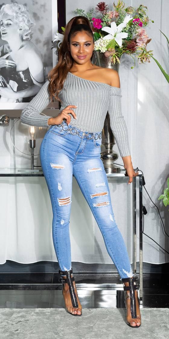Jeans sexy skinny usé