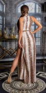 Sexy maxi neck-dress with animalprint and belt