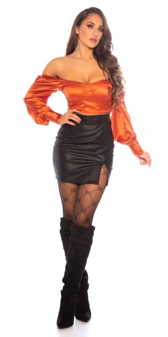 Ensemble jupe et top sexy glamour avec top CARA couleur saumon