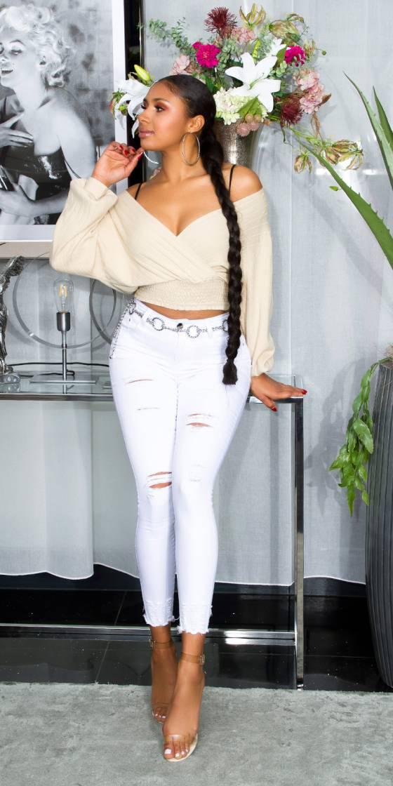 Jeans skinny fashion look usé