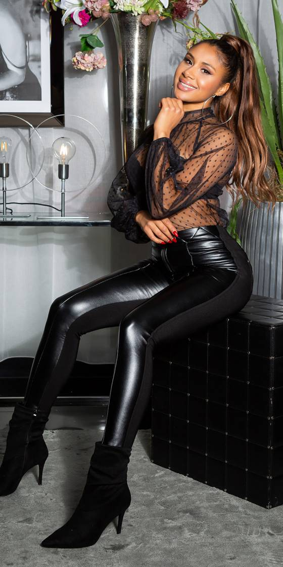 Sexy Faux Leather Stretch...