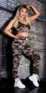 Sexy Set Army Cargo Sweatpants+Cropped Top