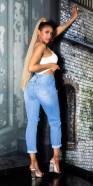 Jeans tendance taille haute aspect usé