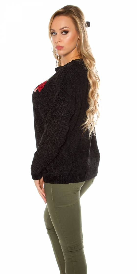 Trendy knit sweater with...