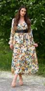 Robe longue fashion à col en V avec imprimé fleuri