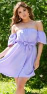 Sexy Faux Silk Off-Shoulder Dress w. Puff Sleeves