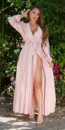 Sexy Satin Maxi Dress Wrap-around Look