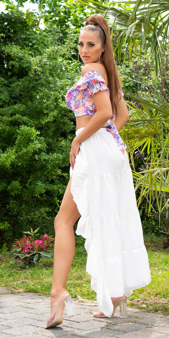 Sexy Latina High-Low Skirt