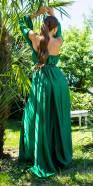 Robe longue tendance en satin à épaules dénudées