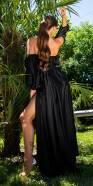 Sexy Off-Shoulder Satin Look Maxi Dress