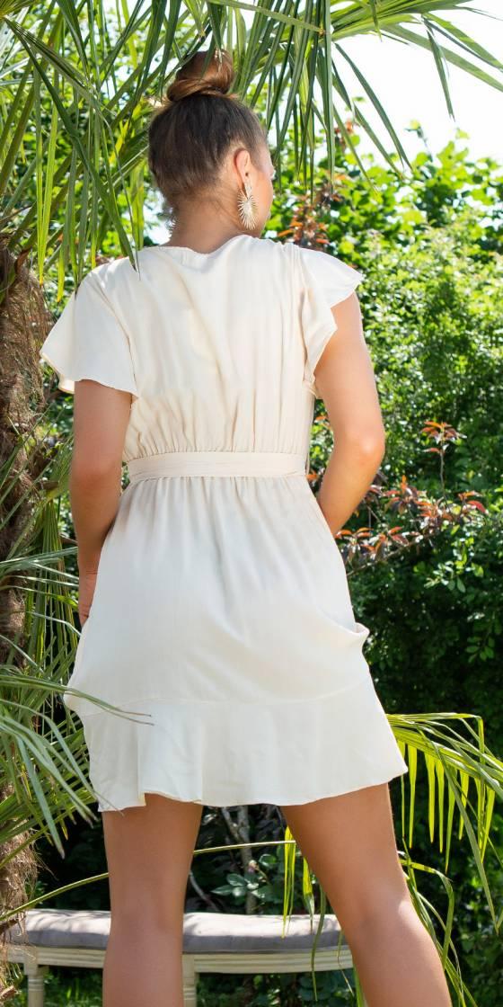 Sexy Wrap-Look Ruffled Dress