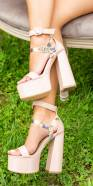 Sexy platform shoes with block heels