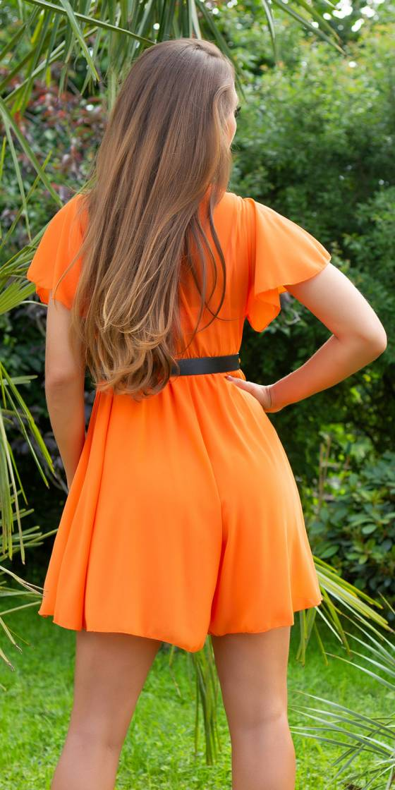 Sexy V-Neck Jumpsuit with Belt